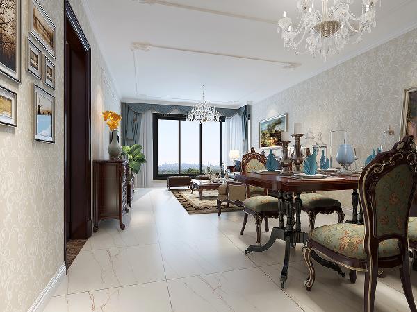 再结合柔美而有型的装饰线条,搭配浓郁雅致的色彩,使得整个居室内有一股强烈的高贵气质,典雅奢华。艺术装饰画的注入,难以掩盖空间的浪漫气息。