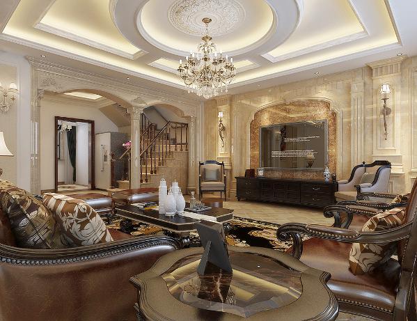 客厅整体空间布局很大气,材质恰到好处地运用,天棚、墙面、地面的呼应,使欧式原有的奢华感、贵雅品位得到很好的延续和凸显;