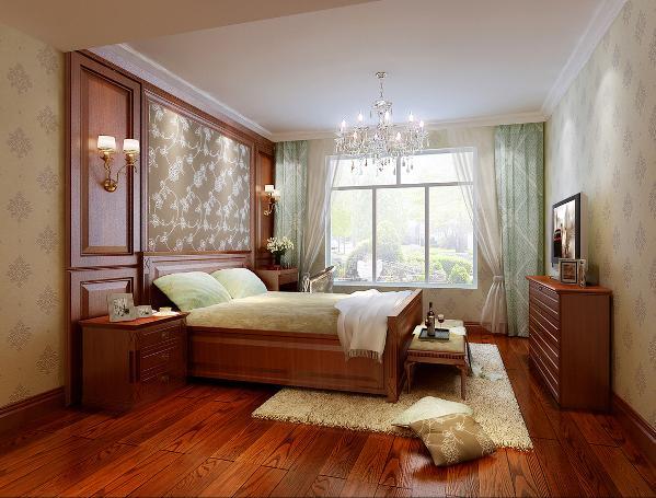 主卧室设计,以营造出一种奢华大气的氛围为主。石膏线围成的吊顶,配上古典大气的吊灯,实木质感的地板让整个主人房充满了古典的气息,颇显浪漫温馨。
