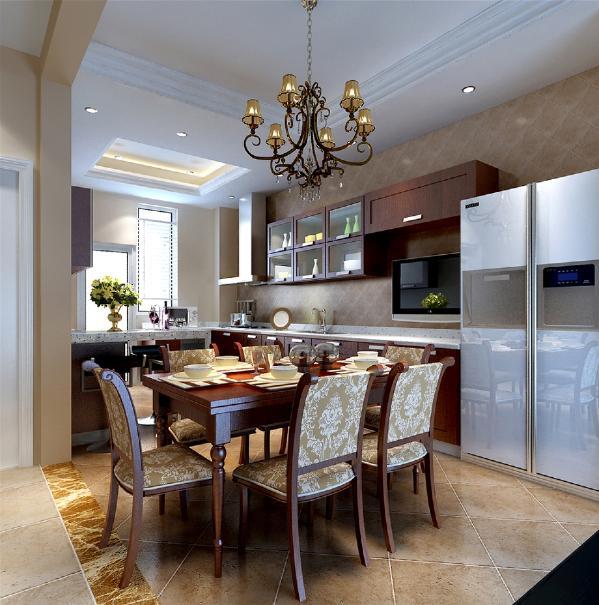 多样的材质能够为设计更增添几分性格。西班牙米黄仿古砖、餐椅欧洲典雅花纹布艺,材质所带来的力量感,让空间 自成一体,同时也呈现出多样化。