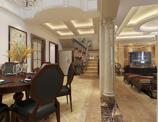 挑高的餐厅空间,利用极具个性别墅装修风格设计营造出独特豪华的装饰效果,以独特而优雅的美学观点构件人性化空间,以奢侈华丽的格调贯穿于空间的每一个细节中,完美的呈现现代欧式的精髓。