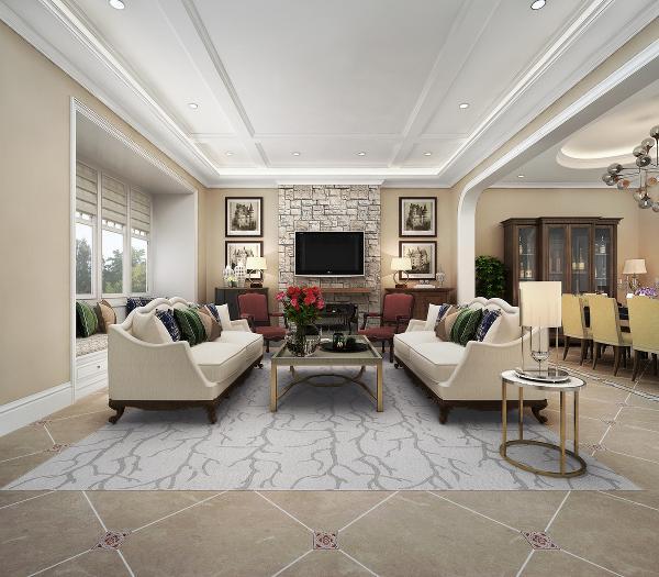 家,既要经得起时光的历练,也要居住得很舒适。客厅的整体色调偏暖,加上冷色调的沙发靠包作为点缀,显得整个别墅空间的设计更加的走心。设计简洁的沙发与金属的茶几的注入,则为空间增添了一份特别的华贵气质。