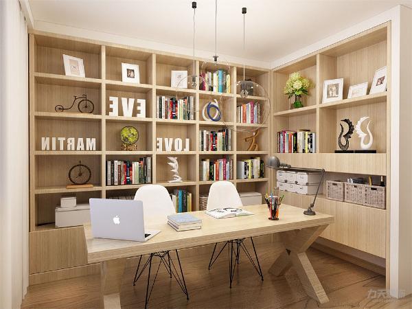 书房的书柜采用较为淡色的木板,地板则是选用较为深色的木质地板,使两个木头材质的有颜色上的反差。墙壁和窗帘选用了白色,使书房看起来简单干净。