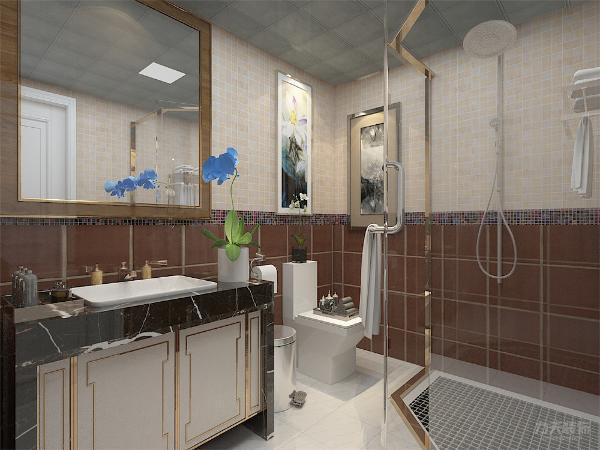 卫生间背景墙上则是选择了简单的挂画,给客厅带来一点活力。地板采用的是实木复合地板,使客厅大方简洁不繁杂。
