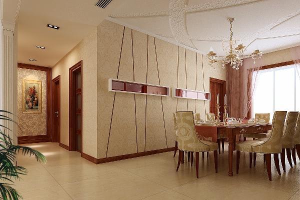 设计亮点:整个设计风格是简欧式风格手法体现,运用合理的几何比例让客厅和餐厅两个功能区和谐统一的存在,让整个空间显得稳重大气看,高品质。