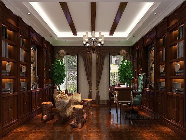 书房是整套居室中最安静的一个空间,多抽屉的书桌设计提供了更多的收纳空间。