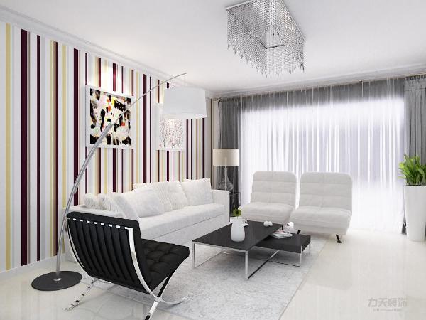 客厅整洁明亮;餐厅的餐桌与客厅的沙发放在一个平面上,并公用一面墙,使客餐厅形成了一个整体;在餐厅边上的厨房,里面用L型的橱柜,墙面带有腰线的墙砖来划分墙面