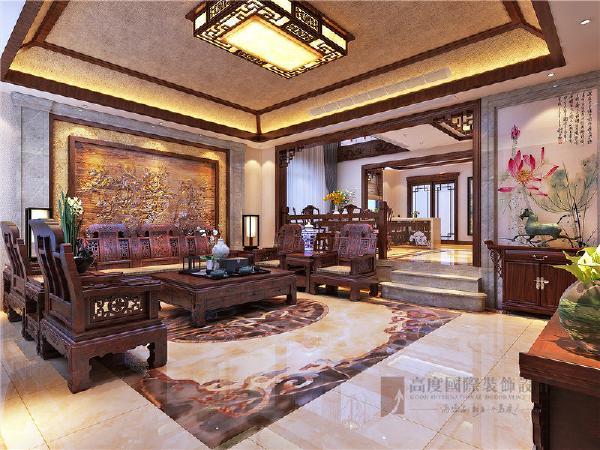 客厅局部运用大理石,麻料壁纸增加质感,沙发背景墙为整块木雕,配合地面微晶石瓷砖,让人感觉温润,质朴又不失端庄与大气。