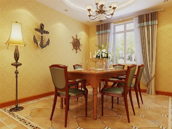 餐厅摆放一套六人餐桌,顶面设计成圆形吊顶,地面斜铺褐色地砖,并且周围铺一圈马赛克式的波打线,使整个空间更加清晰自然和谐