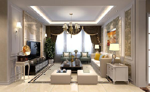 """""""淡妆素裹总相宜,晴山如黛水如蓝"""",客厅空间搭配柔软的色彩,充满着家庭的温馨,自然而美好。"""