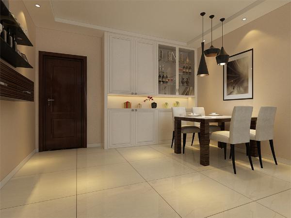餐厅是家居生活的心脏,不仅要美观,更重要的实用性,整体性。摆放了一个四人餐桌椅,整个空间与客厅相互呼应,餐桌左边的装饰架不仅有装饰作用,而且具有很好的实用性。