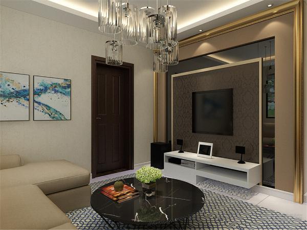 """客厅以浅色系为主,客厅影视墙利用对比色与墙体颜色形成呼应,主卧室采用简洁的图案的各种布艺相得益彰。现代风格属于都市生活中的的一茉绿色,倡导""""简单但不简约"""",在室内环境中力求表现悠闲、舒畅自然的生活情趣"""