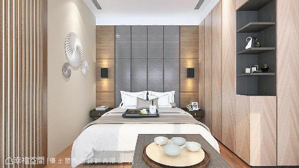 有别于公领域的沉稳调性,卧房空间采用浅木色系形塑休闲放松氛围。 (此为3D合成示意图)