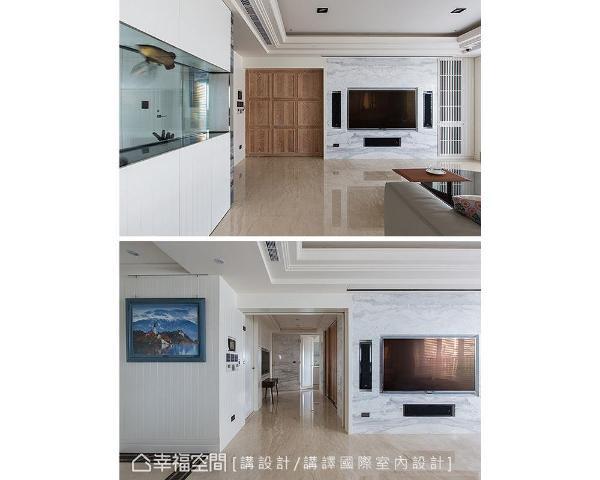 讲设计/讲译国际室内设计在电视墙的左侧打造一扇木纹电动门,区隔出开放式的书房空间。