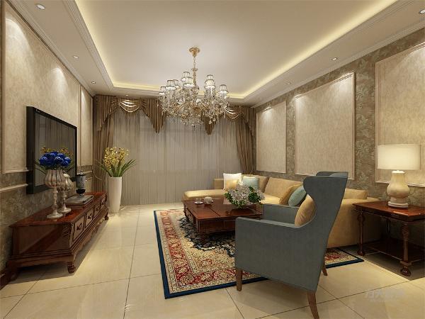 客厅顶部用大型灯池,并用华丽的枝形吊灯营造气氛。墙面采用欧式风格壁纸,深浅产生对比,采用石膏线圈边。