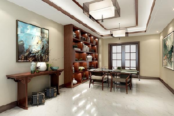 餐厅家具是简练的造型,让空间沉稳大气,没有传统中式厚重感觉。