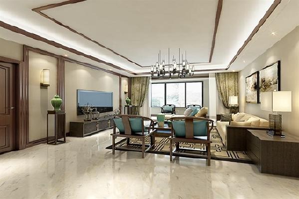 客厅跳脱了中式传统的框架,却扔保留传统元素,若有似无的体现了新中式美学。