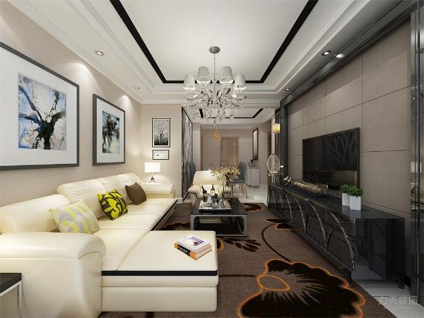 在家具配饰中,客厅方面,白色沙发,用了黑色得茶几和电视柜来压住客厅整体的画面,用了黑色画框来和电视背景墙的黑镜边框呼应。