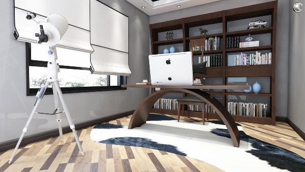 整个书台的造型很独特,就像是一个月亮一样。整个工序的弯板技术,也就仅有楷模一家,独有的专利技术。