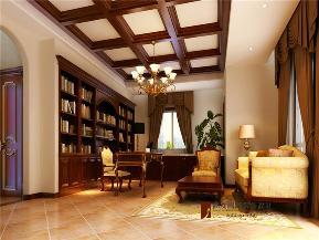 美式 别墅 托斯卡纳 高富帅 有钱任性 书房图片来自重庆高度国际装饰工程有限公司在誉天下的分享