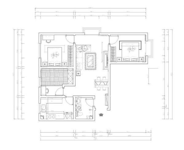 从户型来看各个空间都安排的很规整,入户门开始,顺时针方向首先为客卫生间、厨房、次卧、主卧,逆时针方向是客餐厅、主卧。客餐厅采光光线更好,景观面丰富