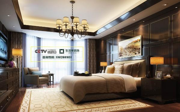 彩叠园128㎡美式风格效果图—卧室效果图