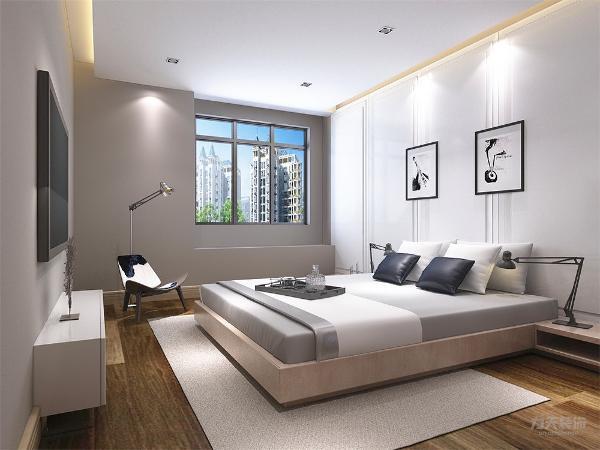 卧室背景墙,选用现代装饰画与床的对比,体现一种室内舒适、简洁的现代简约风格,再加上柔和的室内暖光,更显格外的温馨。