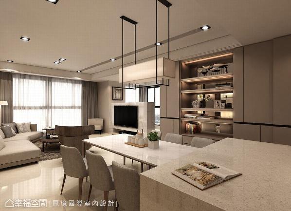 设计师邱郁雯将客厅与餐厨区串联,建构一条明快的视觉轴线,并以电视短墙的设计,让大面的采光由窗外轻轻洒落。 (此为3D合成示意图)