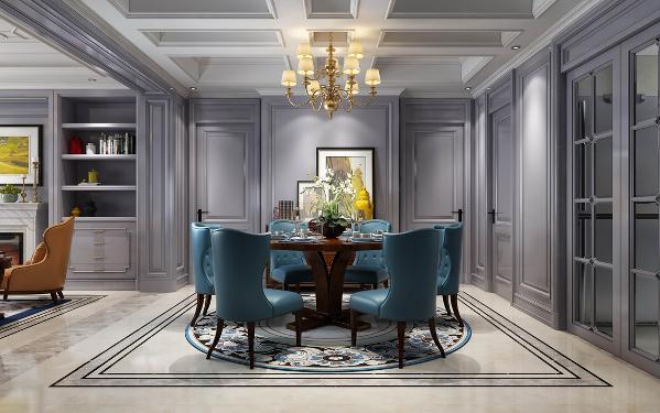 【生活家装饰】皇冠国际118㎡美式风格-餐厅效果图