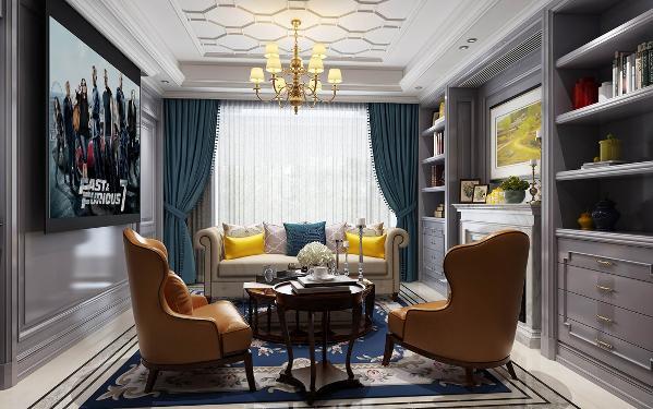 【生活家装饰】皇冠国际118㎡美式风格-客厅效果图