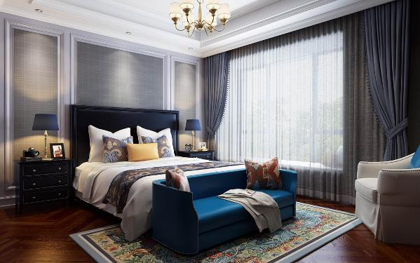 【生活家装饰】皇冠国际118㎡美式风格-卧室效果图