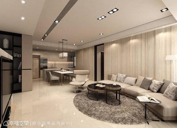 原境国际室内设计在木质铺述的沙发背墙上,以线条沟缝的形式,铺述出空间的暖意与设计感。 (此为3D合成示意图)