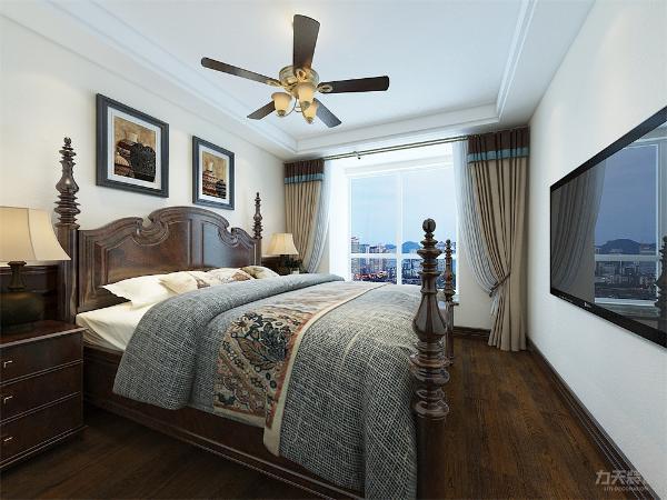 卧室的设计中,布置较为温馨,墙面颜色与客餐厅一致,使整个空间设计更加和谐。