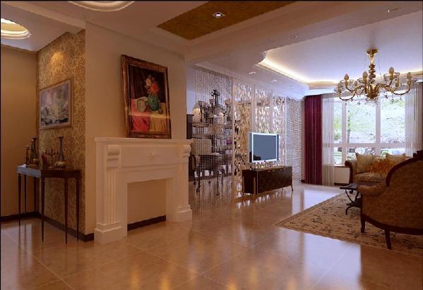 将客厅与书房之间的墙体拆除,用偶是雕花板做电视墙,即起到装饰性,又使整个空间通透