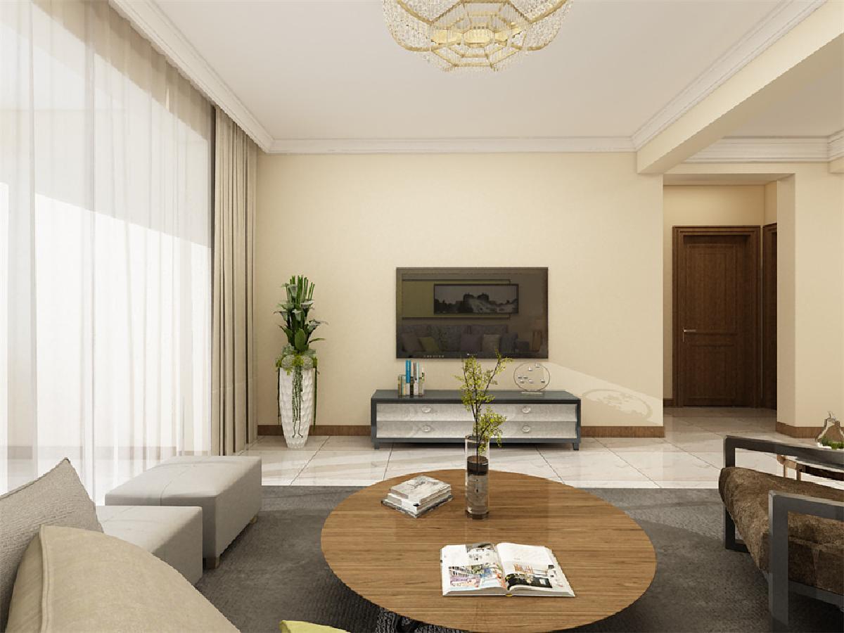 电视背景墙没有装饰,一切家具以简单为主,客厅吊顶围了一圈石膏线.