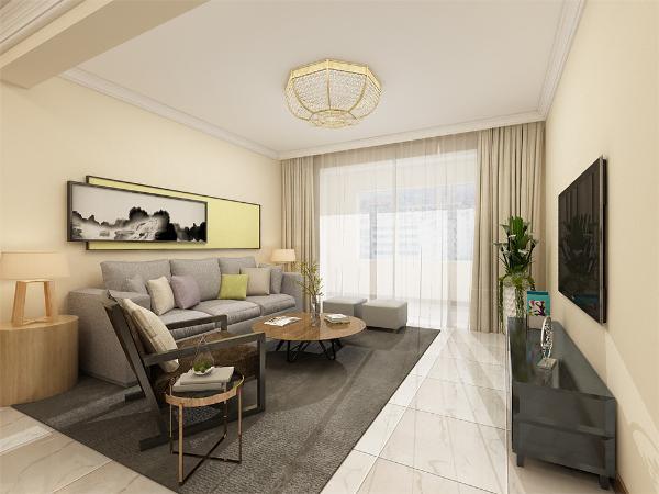 客厅是家居生活的活动核心区域,是家装装修的重点,客厅的沙发背景墙挂了一张画作为装饰,电视背景墙没有装饰,一切家具以简单为主,客厅吊顶围了一圈石膏线。这体现了极简风格的特点,简约而不简单。