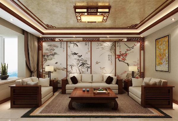 升龙城2号院135平方中式风格设计装修案例:沙发背景墙