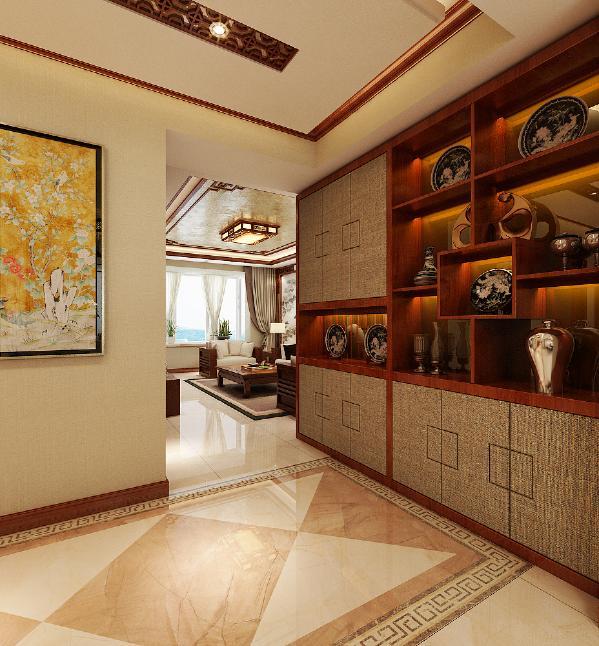 升龙城2号院135平方中式风格设计装修案例:博古架