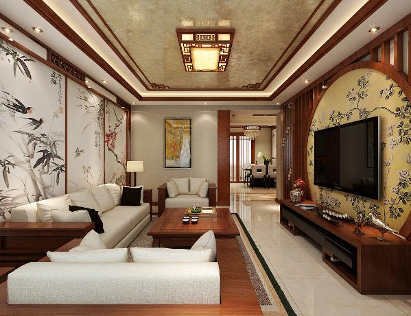 升龙城2号院135平方中式风格设计装修案例:客餐厅