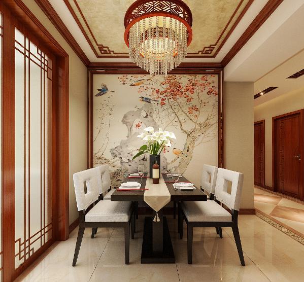 升龙城2号院135平方中式风格设计装修案例:餐厅