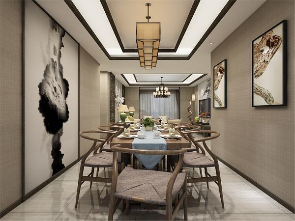 中国风并非完全意义上的复古明清,而是通过中式风格的特征,表达对清雅、含蓄、端庄、风华的东方式精神界的追求。黄色的灯光让人感觉温暖无比,大大的落地窗让主人随时看见外面的风景,时尚与古典相结合