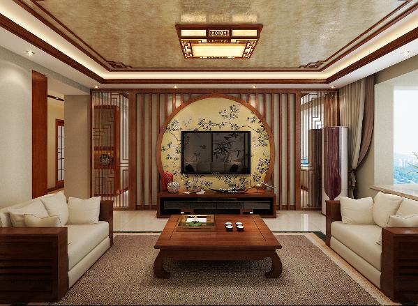 升龙城2号院135平方中式风格设计装修案例:客厅电视墙展示。