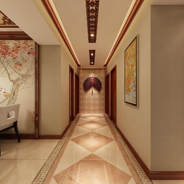 升龙城2号院135平方中式风格设计装修案例:过道