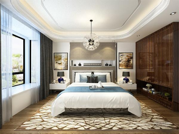 该户型的卧室设计的比较简单,主卧采用了很多中式的家具来进行装饰由木色的家具搭配清爽的天蓝色布艺地毯,使得主卧层次更加分明。