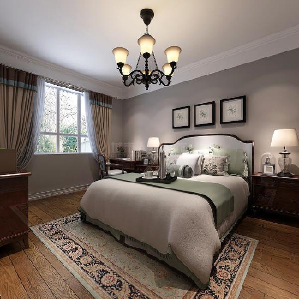 主卧沿袭设计的整体基调,在设计手法和细节上更具创造力,美式吊灯更好的营造卧室氛围。