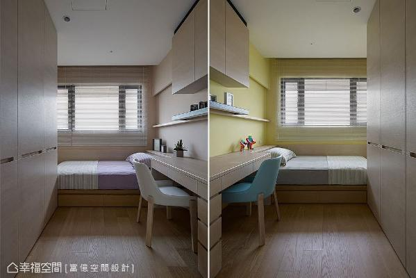 床头和床尾设置整排柜体,不浪费收纳空间;以藕紫、黄绿两色为主题,营造出活泼休闲的氛围。