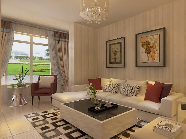 电视为壁挂式,阳台放休闲桌椅,沙发采用L型浅色沙发,上面放彩色抱枕,沙发背景墙采用挂画装饰