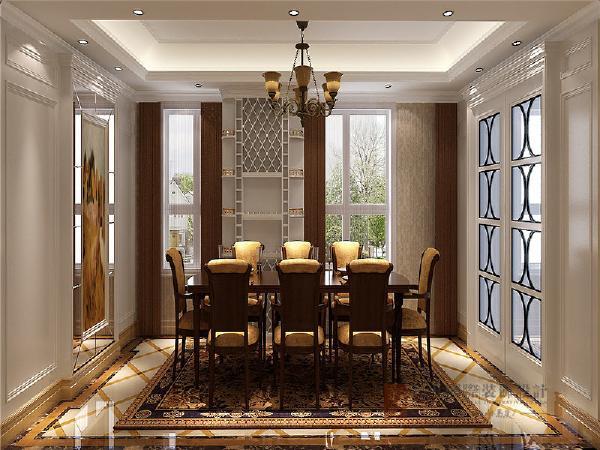 整体布局采用较为规整的方式,采用镜面玻璃做装饰,加深空间纵深感。