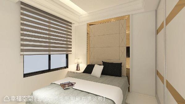 三宅一秀空间创艺为凸显女儿房柔美气息,床头采绷布设计再以茶镜收边,呈现出艺术画框的造型效果。 (此为3D合成示意图)