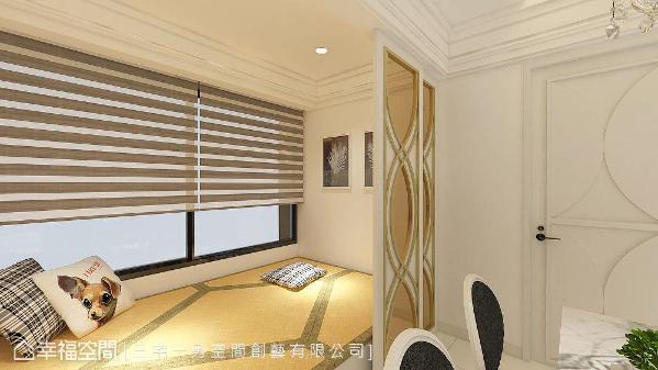 餐厅旁的架高和室,使用茶色喷砂玻璃门做为界定,榻榻米下方还隐藏电动升降桌,成为聊天聚会的社交空间,也兼做客房用途。 (此为3D合成示意图)